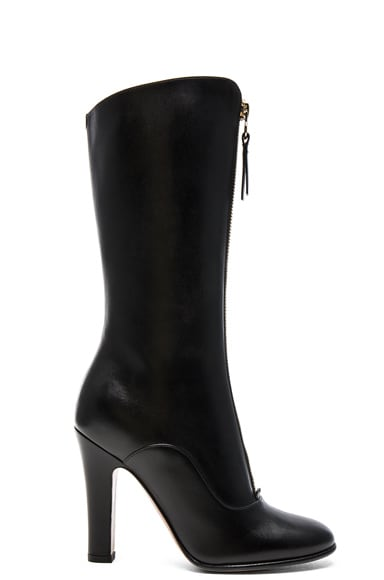 Valentino Leather Rebelle 100MM Boots in Black