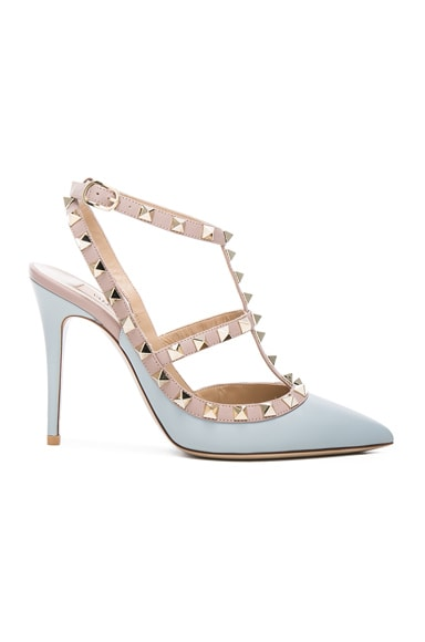 Valentino Rockstud Leather Slingbacks T.100 in Sky Sorbet