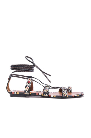 Valentino Primitive Print Sandals in Black & Multi