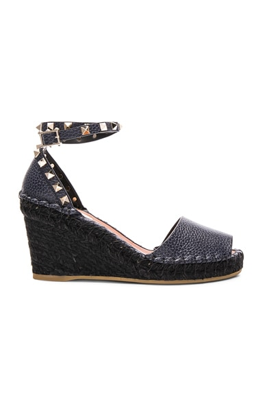 Valentino Rockstud Double Wedges in Deep Denim & Black