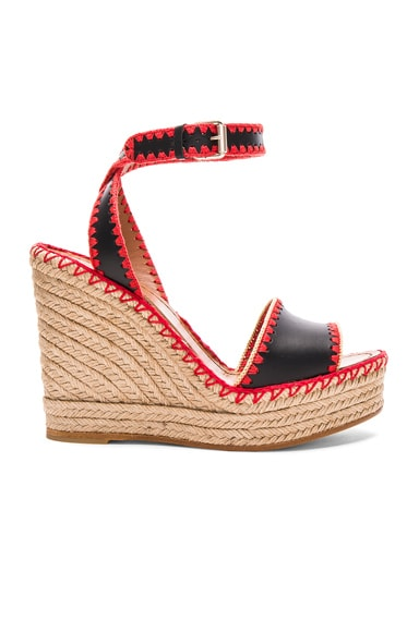 Valentino Leather Color Crochet Wedges in Black, Deep Coral & Avocado