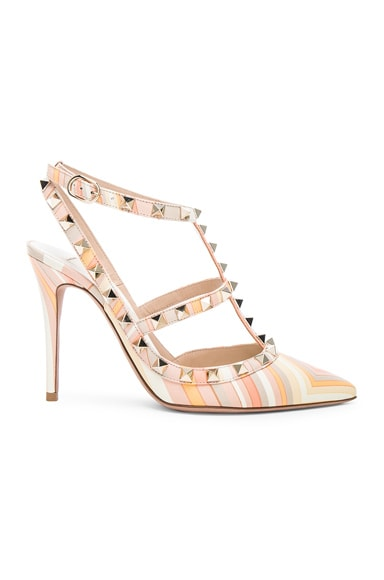 Valentino Leather Rockstud 1975 Heels in Multicolor Mandarin Sorbet