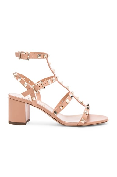 Valentino Leather Rockstud Heel Sandals in Nude