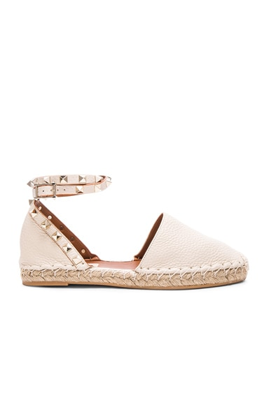 Valentino Rockstud Double Flat Leather Espadrilles in Light Ivory