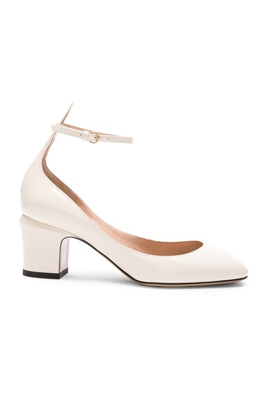 Valentino Patent Leather Tango Pumps in Light Ivory