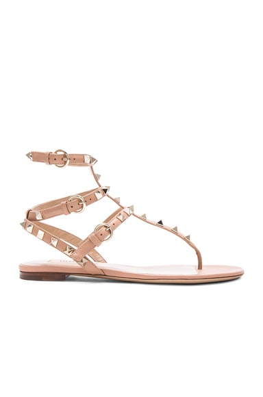 Valentino Leather Rockstud Flat Sandals in Nude