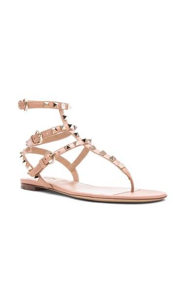 Leather Rockstud Flat Sandals