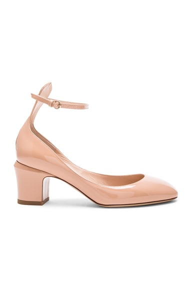 Valentino Patent Leather Tango Pumps in Nude