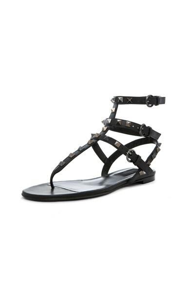 Rockstud Noir Gladiator Leather Sandals T.05