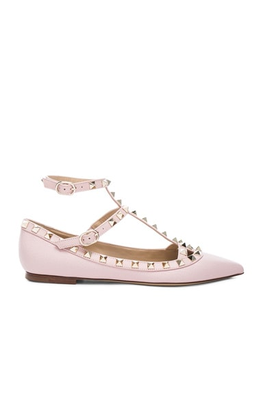 Valentino Rockstud Leather Cage Flats in Water Rose