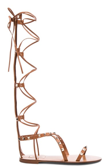 Valentino Rockstud Leather Tall Gladiator Sandals in Cognac