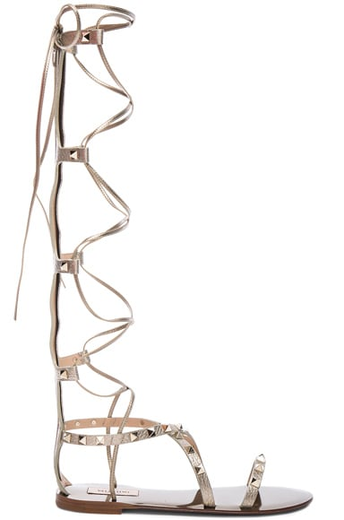 Valentino Rockstud Leather Tall Gladiator Sandals in Alba