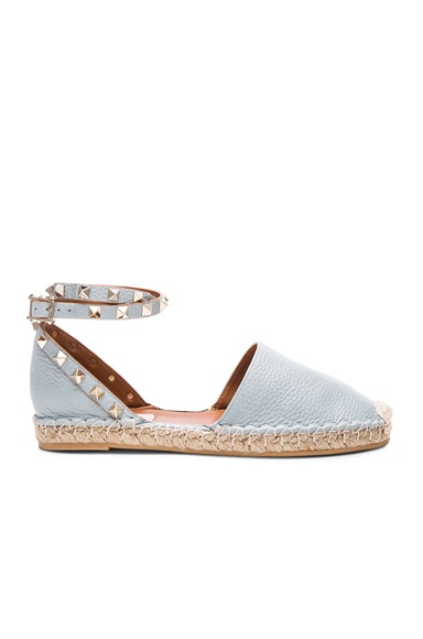 Valentino Rockstud Double Flat Leather Espadrilles in Sky Sorbet