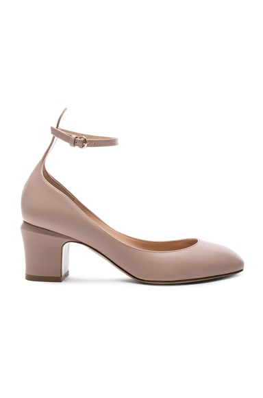 Valentino Tango Leather Heels in Poudre