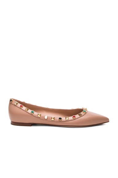 Valentino Rockstud Leather Rolling Ballerina Flats in Soft Noisette