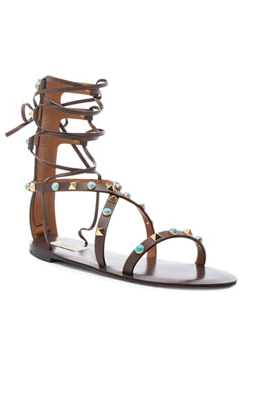 Rockstud Leather Rolling Sandals
