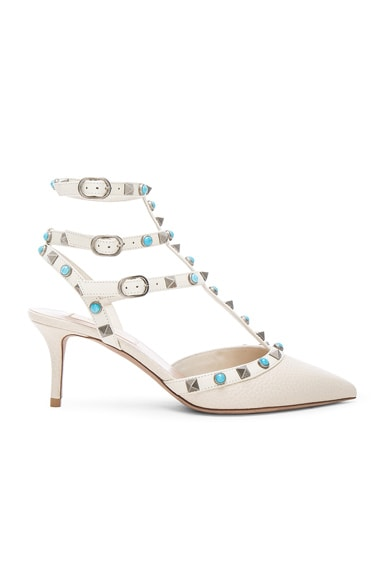 Valentino Rockstud Leather Rolling Heels in Light Ivory