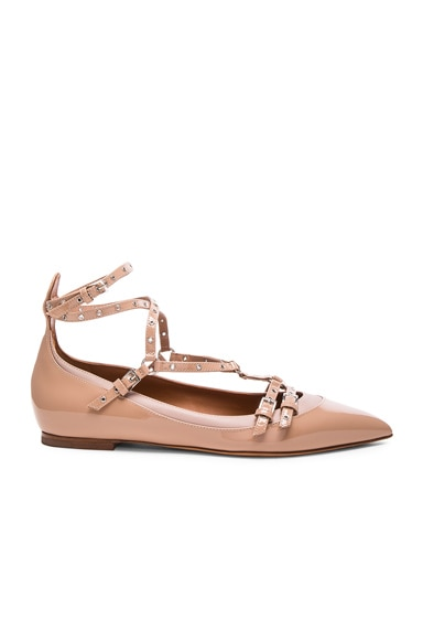 Valentino Love Latch Patent Leather Ballerina Flats in Poudre & Soft Noisette