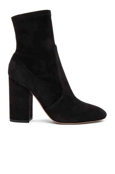 Valentino Suede Booties in Nero
