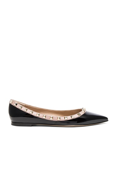 Valentino Leather Rockstud Ballerina Flats in Black & Poudre
