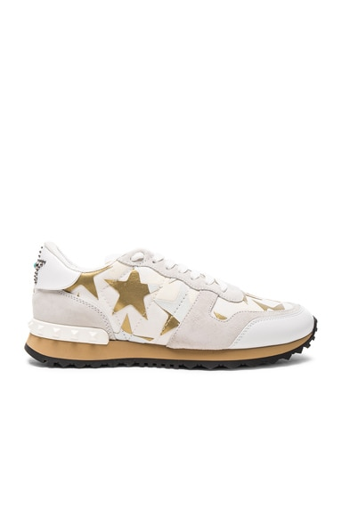 Valentino Canvas & Suede Sneakers in Bianco, Gold, & Multi