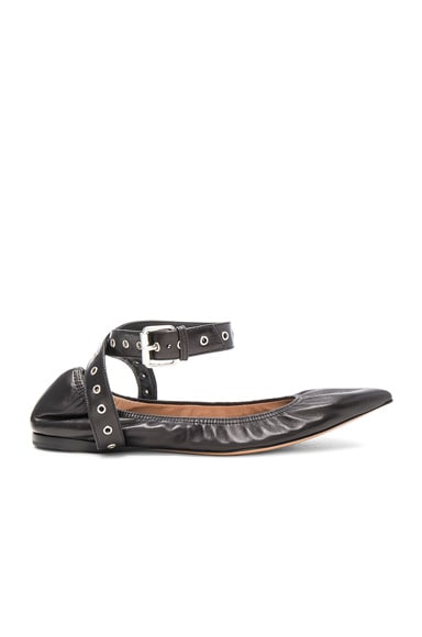 Valentino Ankle Strap Leather Ballerina Flats in Nero