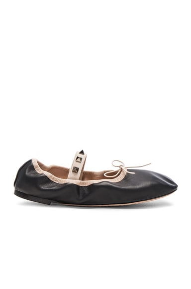 Valentino Rockstud Leather Ballerina Flats in Black