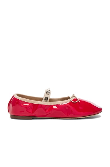 Valentino Rockstud Patent Leather Ballerina Flats in Red