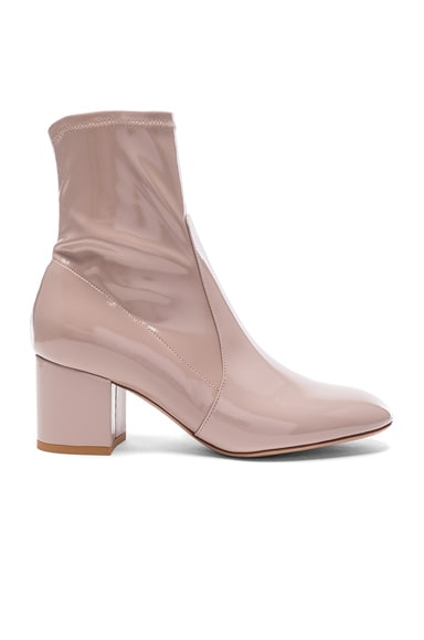 Valentino Patent Leather Booties in Poudre