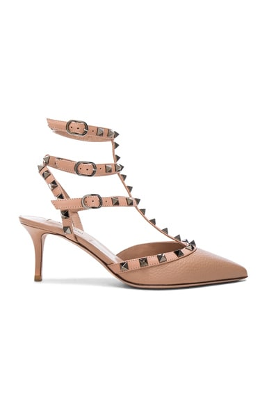 Rockstud Leather Ankle Strap Heels