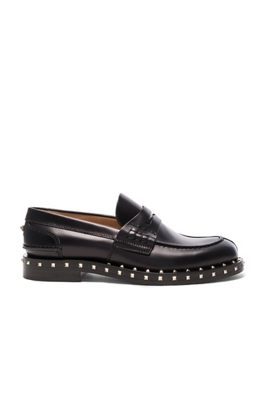 Valentino Soul Stud Leather Loafers in Black & Platino