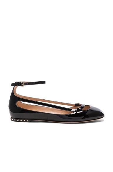 Valentino Stardust Babe Patent Leather Ballerina Flats in Al Campione & Black