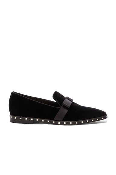 Valentino Soul Stud Velvet Slippers in Black