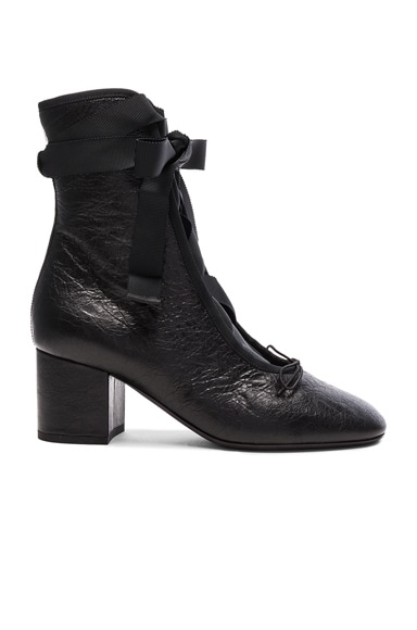 Valentino Crinkled Leather Ballet Booties in Black