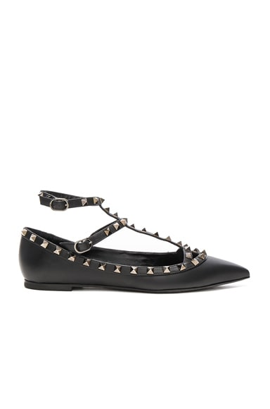 Valentino Rockstud Noir Leather Cage Flats in Ruthenium Black