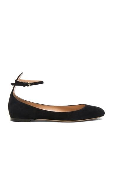 Valentino Suede Tango Leather Flats in Black