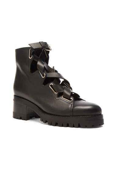 Cross Strap Leather Combat Boots