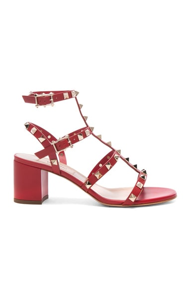 Valentino Rockstud Sandal in Red