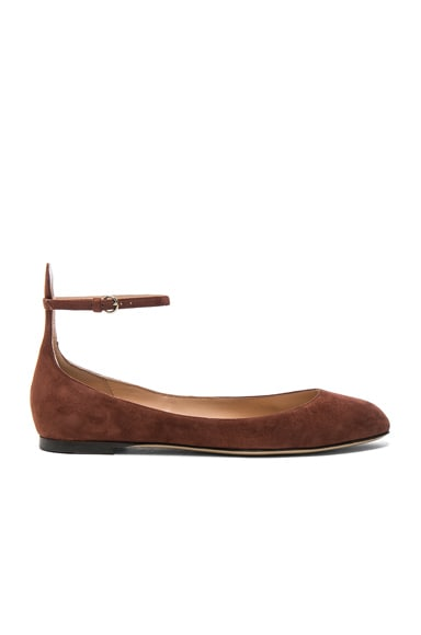 Valentino Suede Tan-Go Flats in Light Brown