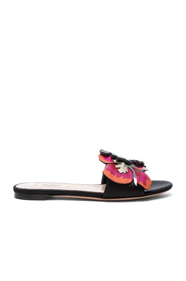 Valentino Leather Tropical Dream Slides in Multi & Black