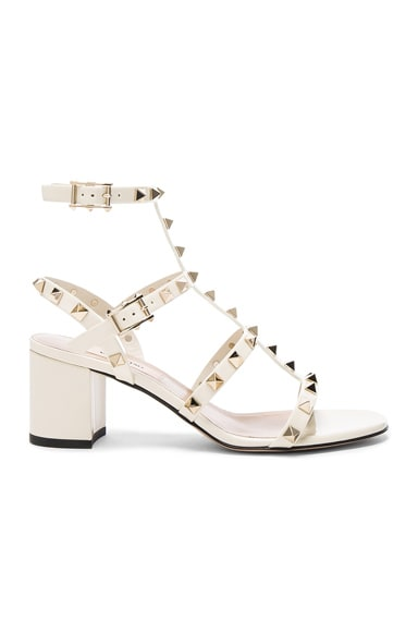 Valentino Patent Leather Rockstud Sandals in Light Ivory