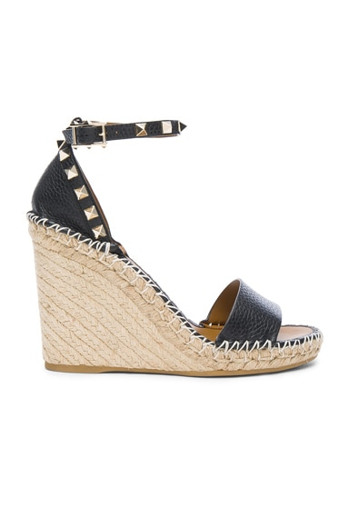 Valentino Leather Rockstud Espadrilles in Black