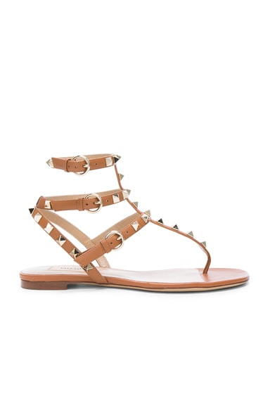 Valentino Leather Rockstud Gladiator Sandals in Light Cuir