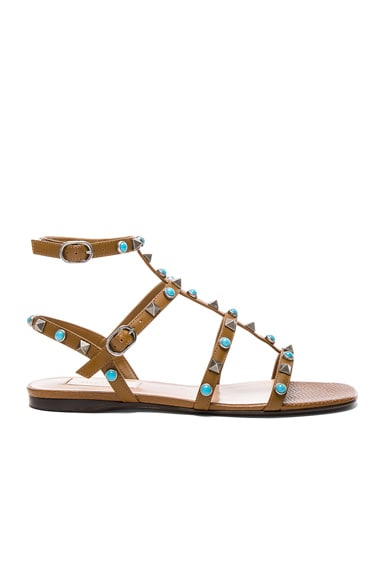 Valentino Leather Rockstud Sandals in Bright Cuir