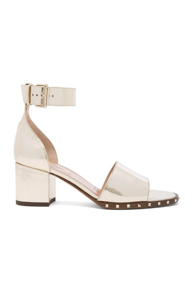 Valentino Leather Soul Rockstud Sandals in Platino