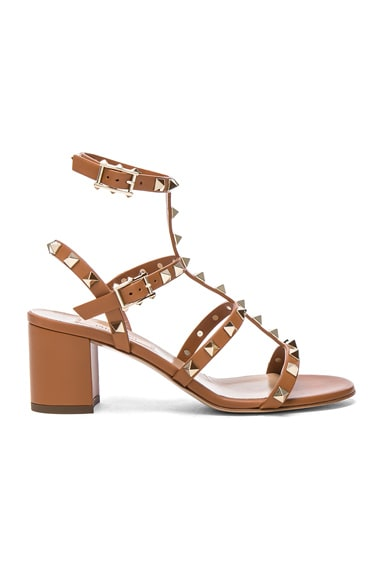 Valentino Leather Rockstud Sandals in Light Cuir