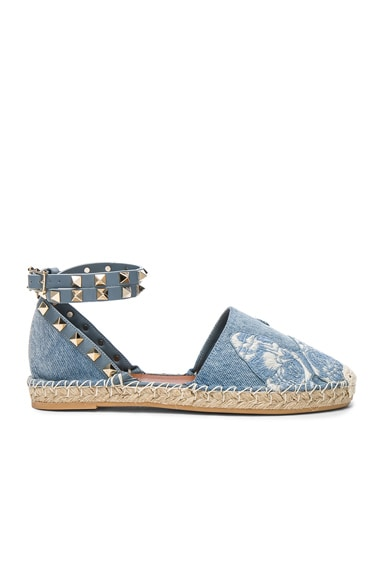 Valentino Embroidered Butterfly Denim Espadrilles in Light Denim