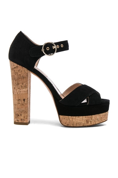 Valentino Suede Erin B Sandals in Black