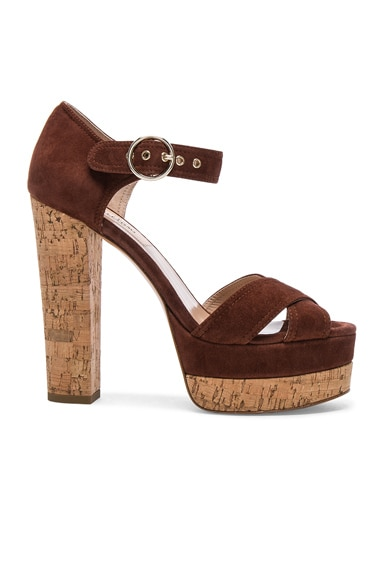 Valentino Suede Erin B Sandals in Light Brown