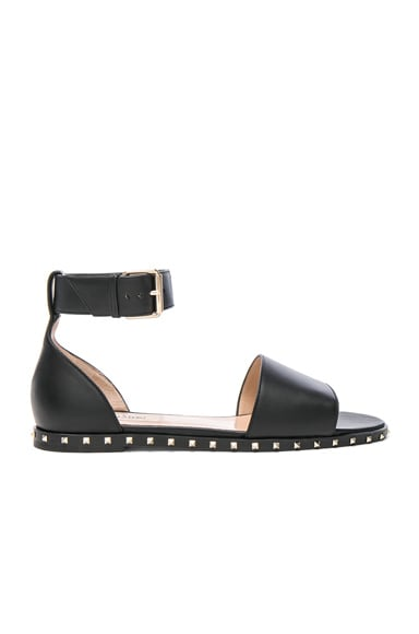 Valentino Leather Soul Rockstud Flat Sandals in Black